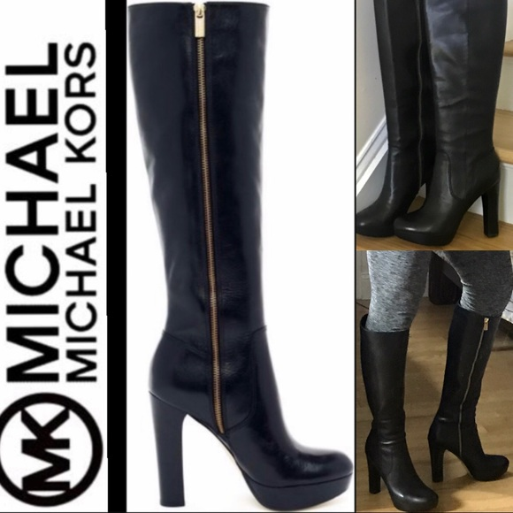 2f9144f120f3 Michael Kors Lesly NIB tall black leather boots 9M